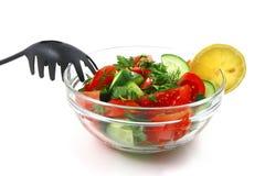 verdura trasparente dell'insalata grezza fresca della ciotola Fotografia Stock Libera da Diritti
