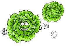 Verdura verde felice del cavolo del fumetto Fotografie Stock Libere da Diritti