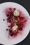 Verduras con la salsa, cocina haute, aperitivo gastrónomo Fotografía de archivo