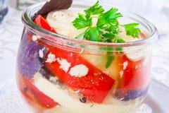 Verduras conservadas en vinagre en un tarro de cristal Foto de archivo