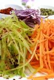 Verduras cortadas en un rallador para la ensalada con la pimienta roja Foto de archivo libre de regalías