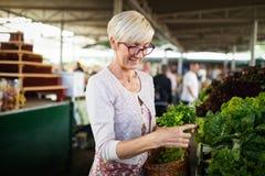 Verduras de compra de la mujer mayor en el mercado verde imagen de archivo