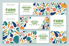 Verduras de la bandera Sistema del menú, del alimento biológico y de los productos naturales de las banderas del vector del ejemp ilustración del vector