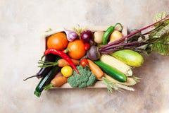 Verduras de la granja de la cosecha del otoño y cultivos de raíces en la opinión superior de la caja de madera Sano y alimento bi imágenes de archivo libres de regalías