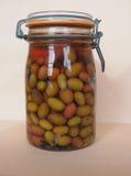 Verduras de las aceitunas en salmuera Foto de archivo