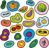 Verduras del garabato fijadas Imagen de archivo