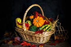 Verduras del otoño en una cesta Fotos de archivo