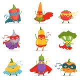 Verduras del super héroe en máscaras y cabos fijados de caracteres humanizados historieta infantil linda en trajes stock de ilustración