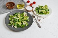 Verduras del tomate de la pimienta del aceite del Arugula de la col de la ensalada de los bistros Foto de archivo