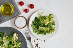 Verduras del tomate de la pimienta del aceite del Arugula de la col de la ensalada de los bistros Fotos de archivo libres de regalías