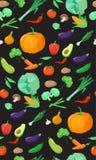 Verduras deliciosas del modelo inconsútil Imagen de archivo