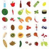 Verduras determinadas y fruta de la comida del vector planas Foto de archivo libre de regalías