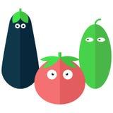 Verduras divertidas en estilo plano Fotos de archivo