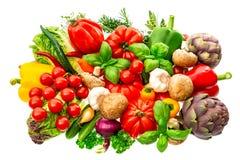 Verduras e hierbas aisladas en el fondo blanco ingr crudo de la comida Fotografía de archivo libre de regalías