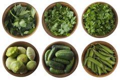 Verduras e hierbas verdes frescas en un blanco Foto de archivo libre de regalías