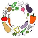 Verduras Ejemplo exhausto de la mano plana sana de la nutrici?n ilustración del vector
