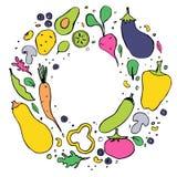 Verduras Ejemplo exhausto de la mano plana sana de la nutrici?n D?a del vegano ilustración del vector