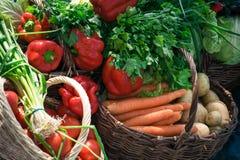 Verduras en cestas Fotografía de archivo libre de regalías