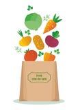 Verduras en el bolso de Kraft Foto de archivo