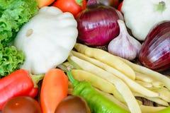 Verduras en el fondo de madera del vintage - cosecha del otoño Foto de archivo