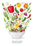 Verduras en ensalada del vegano en el fondo blanco Alimento biológico sano en una placa Sistema de los ingredientes para cocinar  ilustración del vector
