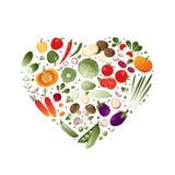Verduras en la forma del corazón stock de ilustración