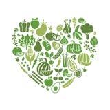 Verduras en una forma del corazón