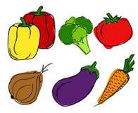 Verduras fijadas en el fondo blanco Foto de archivo libre de regalías