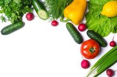 Verduras frescas aisladas en el fondo blanco con el espacio de la copia Foto de archivo libre de regalías