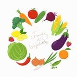 Verduras frescas alrededor del lugar del texto en diseño plano aislado en el fondo blanco Vector vegetariano del concepto de la c libre illustration