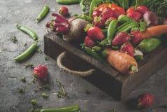 Verduras frescas, bayas, verdes y frutas en bandeja Imágenes de archivo libres de regalías