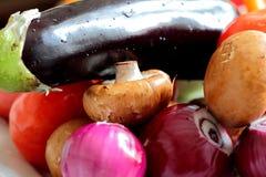 Verduras frescas - cebolla roja, berenjena y setas Foto de archivo libre de regalías