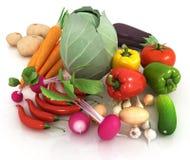 Verduras frescas con las hojas verdes en un blanco ilustración del vector