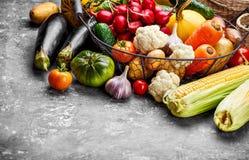 Verduras frescas de la cosecha en superficie concreta Otoño fotos de archivo