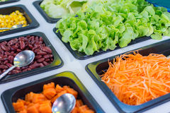 Verduras frescas del bufete de ensaladas cortadas Imágenes de archivo libres de regalías