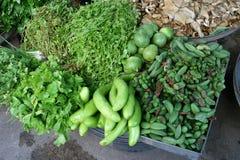 Verduras frescas e hierbas en el mercado Foto de archivo libre de regalías