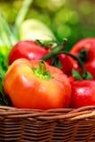Verduras frescas en cesta tejida Fotos de archivo