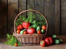 Verduras frescas en cesta Todavía vida 1 Foto de archivo libre de regalías