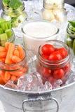 Verduras frescas en cubo de hielo Imagen de archivo