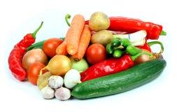 Verduras frescas en el fondo blanco foto de archivo