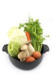 Verduras frescas en el pote aislado en el backgroud blanco Fotos de archivo libres de regalías