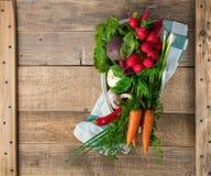Verduras frescas en la cacerola a cocinar con en el fondo de madera con Foto de archivo libre de regalías