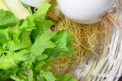 Verduras frescas en las plantas de madera blancas de una cesta imágenes de archivo libres de regalías