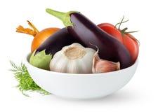 Verduras frescas en un tazón de fuente Fotografía de archivo libre de regalías