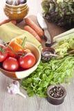 Verduras frescas en un vector Fotos de archivo libres de regalías