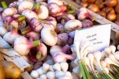 Verduras frescas en una parada del mercado Fotografía de archivo
