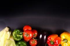 Verduras frescas, fondo del otoño Marco sano de la consumición Imagen de archivo