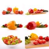 Verduras frescas mezcladas en el fondo blanco Imagenes de archivo