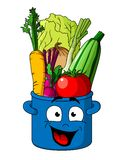 Verduras frescas sanas en pote azul Imágenes de archivo libres de regalías