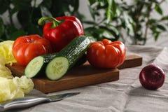 Verduras frescas tomate, pepino, pimienta y cebolla roja en una tabla de cortar Foto de archivo